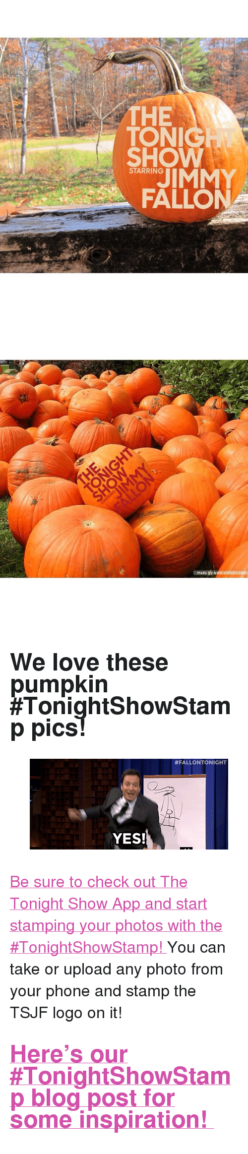 "The Tonight Show Starring Jimmy Fallon: THE  TON  SHOW  STARRING  FALLON   Made by www.wallcoo.com <h2>We love these pumpkin #TonightShowStamp pics! </h2><figure data-orig-width=""400"" data-orig-height=""183"" class=""tmblr-full""><img src=""https://78.media.tumblr.com/ee9f9514ebdea8536c9fa2d806bb67d3/tumblr_inline_nw63l4WHo51qgt12i_500.gif"" alt=""image"" data-orig-width=""400"" data-orig-height=""183""/></figure><p><a href=""http://www.nbc.com/the-tonight-show/blog/download-the-tonight-show-starring-jimmy-fallon-app/1086"" target=""_blank"">Be sure to check out The Tonight Show App and start stamping your photos with the #TonightShowStamp! </a>You can take or upload any photo from your phone and stamp the TSJF logo on it!</p><h2><a href=""http://www.nbc.com/the-tonight-show/blog/tonightshowstamp/128921"" target=""_blank"">Here's our #TonightShowStamp blog post for some inspiration! </a></h2>"