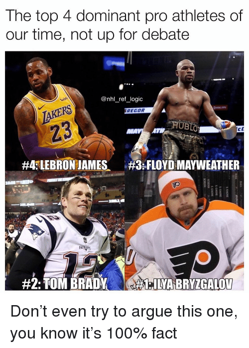 National Hockey League (NHL): The top 4 dominant pro athletes of  our time, not up for debate  @nhl_ref_logic  TAKERS  23  REGOR  #4fLEBRON JAMES、  :FLOYD MAYWEATHER  Ep  PA Don't even try to argue this one, you know it's 100% fact