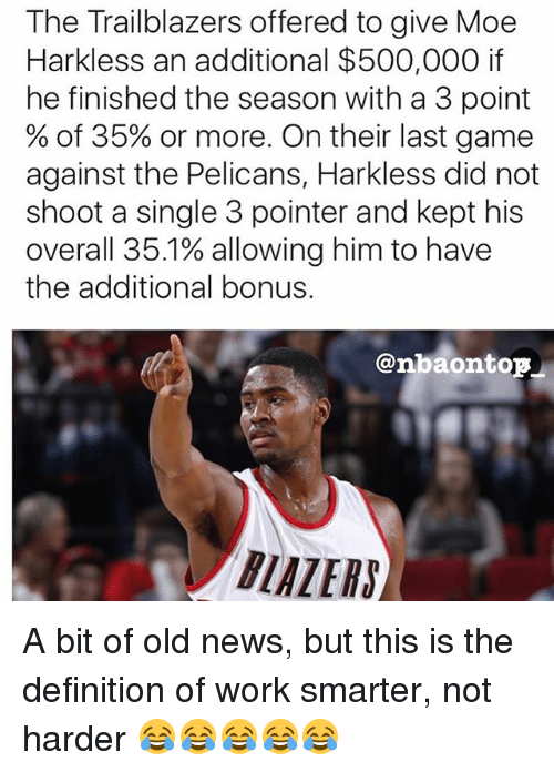 Memes, News, and Work: The Trailblazers offered to give Moe  Harkless an additional $500,000 if  he finished the season with a 3 point  % of 35% or more. On their last game  against the Pelicans, Harkless did not  shoot a single 3 pointer and kept his  overall 35.1% allowing him to have  the additional bonus.  @nbaontop  BIALERS A bit of old news, but this is the definition of work smarter, not harder 😂😂😂😂😂