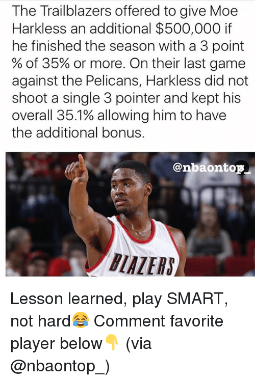 Memes, Game, and Last Game: The Trailblazers offered to give Moe  Harkless an additional $500,000 if  he finished the season with a 3 point  % of 35% or more. On their last game  against the Pelicans, Harkless did not  shoot a single 3 pointer and kept his  overall 351% allowing him to have  the additional bonus.  @nbaontop  BLAZERS】 Lesson learned, play SMART, not hard😂 Comment favorite player below👇 (via @nbaontop_)