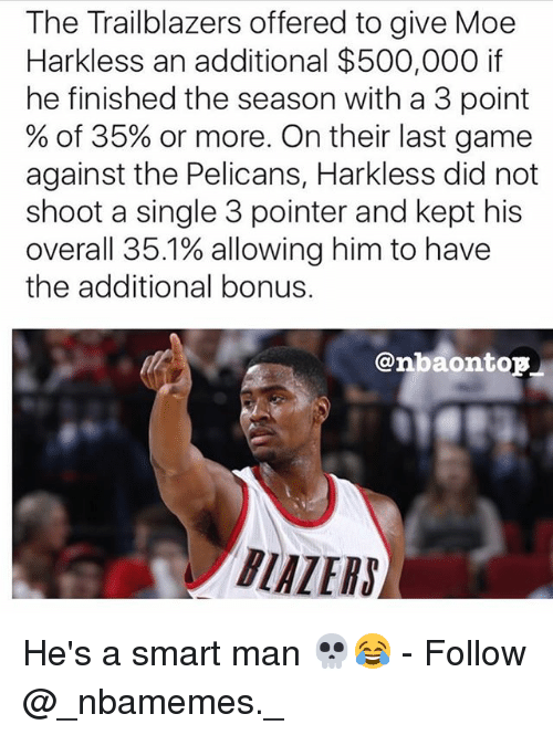 Memes, Game, and Last Game: The Trailblazers offered to give Moe  Harkless an additional $500,000 if  he finished the season with a 3 point  % of 35% or more. On their last game  against the Pelicans, Harkless did not  shoot a single 3 pointer and kept his  overall 35.1% allowing him to have  the additional bonus.  @nbaontop  BLAZERS】 He's a smart man 💀😂 - Follow @_nbamemes._