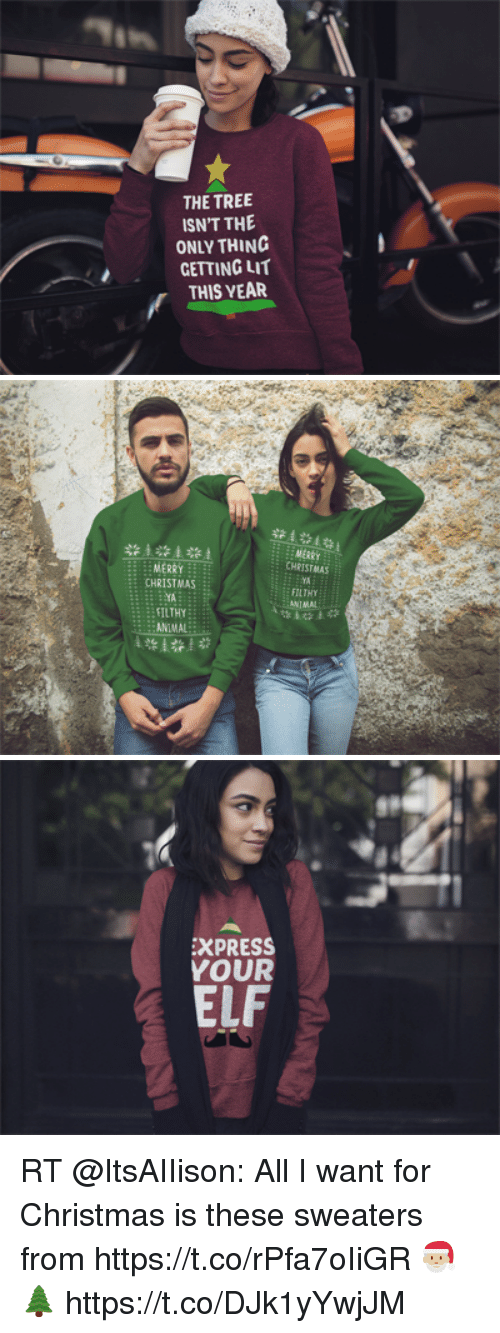 Christmas, Elf, and Funny: THE TREE  ISN'T THE  ONLY THINC  GETTING LIT  THIS YEAR   st  MERRY  CHRISTMAS  YA  FILTHY  ANTMAL  MERRY  CHRISTMAS  TA  ILTHY  :ANIMAL   EXPRESS  YOUR  ELF RT @ItsAIIison: All I want for Christmas is these sweaters from https://t.co/rPfa7oIiGR 🎅🏼🌲 https://t.co/DJk1yYwjJM