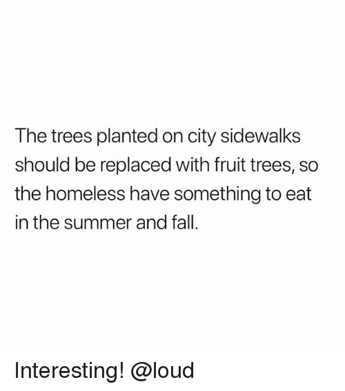 Fall, Homeless, and Memes: The trees planted on city sidewalks  should be replaced with fruit trees, so  the homeless have something to eat  in the summer and fall Interesting! @loud