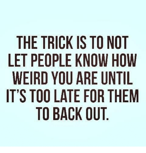 Memes, Weird, and Back: THE TRICK IS TO NOT  LET PEOPLE KNOW HOW  WEIRD YOU ARE UNTIL  IT'S TOO LATE FOR THEM  TO BACK OUT