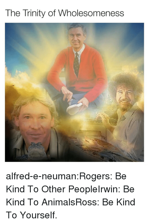 Animals, Tumblr, and Blog: The Trinity of Wholesomeness alfred-e-neuman:Rogers: Be Kind To Other PeopleIrwin: Be Kind To AnimalsRoss: Be Kind To Yourself.