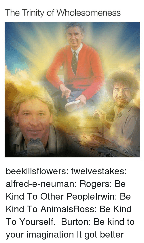 burton: The Trinity of Wholesomeness beekillsflowers:  twelvestakes:   alfred-e-neuman: Rogers: Be Kind To Other PeopleIrwin: Be Kind To AnimalsRoss: Be Kind To Yourself.  Burton: Be kind to your imagination   It got better