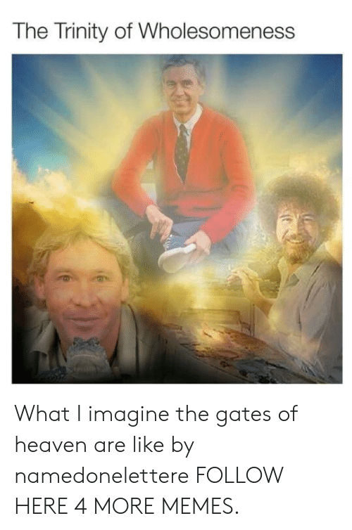 what i imagine: The Trinity of Wholesomeness What I imagine the gates of heaven are like by namedonelettere FOLLOW HERE 4 MORE MEMES.