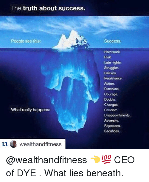 Disappointed: The truth about success.  People see this:  What really happens:  tu wealthand fitness  Success.  Hard work.  Late nights.  Struggles.  Failures.  Persistence  Discipline.  Courage.  Doubts.  Changes.  Criticism.  Disappointments.  Adversity.  Rejections  Sacrifices. @wealthandfitness 👈💯 CEO of DYE . What lies beneath.