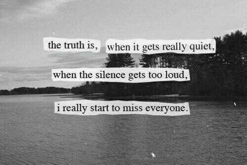 The Silence: the truth is, when it gets really quiet  when the silence gets too loud,  i really start to miss everyone