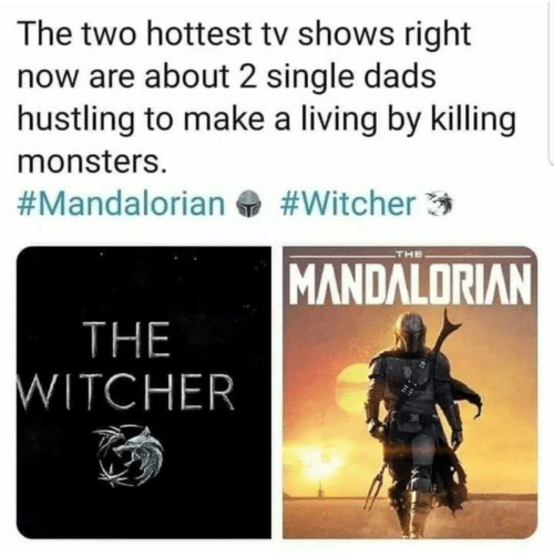 monsters: The two hottest tv shows right  now are about 2 single dads  hustling to make a living by killing  monsters.  #Witcher 3  #Mandalorian  THE  MANDALORIAN  THE  WITCHER