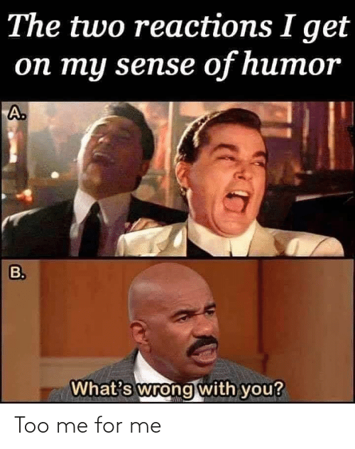 reactions: The two reactions I get  оп ту sensе of humor  A.  B.  What's wrong with you? Too me for me