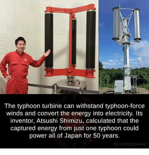 Withstanded: The typhoon turbine can withstand typhoon-force  winds and convert the energy into electricity. Its  inventor, Atsushi Shimizu, calculated that the  captured energy from just one typhoon could  power all of Japan for 50 years.  fb.com/factsweird