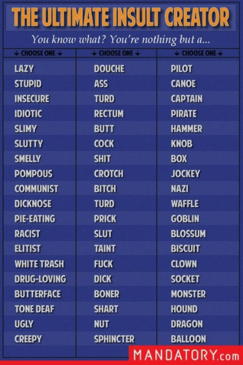 butterface: THE ULTIMATE INSULT CREATOR  You know what? You're nothing but a...  CHOOSE ONE  LAZY  STUPID  INSECURE  IDIOTIC  SLIMY  SLUTTY  SMELLY  POMPOUS  COMMUNIST  DICKNOSE  PIE-EATING  RACIST  ELITIST  WHITE TRASH  DRUG-LOVING  BUTTERFACE  TONE DEAF  UGLY  CREEPY  CHOOSE ONE  DOUCHE  ASS  TURD  RECTUM  BUTT  COCK  SHIT  CROTCH  BITCH  TURD  PRICK  SLUT  TAINT  FUCK  DICK  BONER  SHART  NUT  SPHINCTER  CHOOSE ONE  PILOT  CANOE  CAPTAIN  PIRATE  HAMMER  KNOB  BOX  JOCKEY  NAZI  WAFFLE  GOBLIN  BLOSSUM  BISCUIT  CLOWN  SOCKET  MONSTER  HOUND  DRAGON  BALLOON  MANDATORY.com