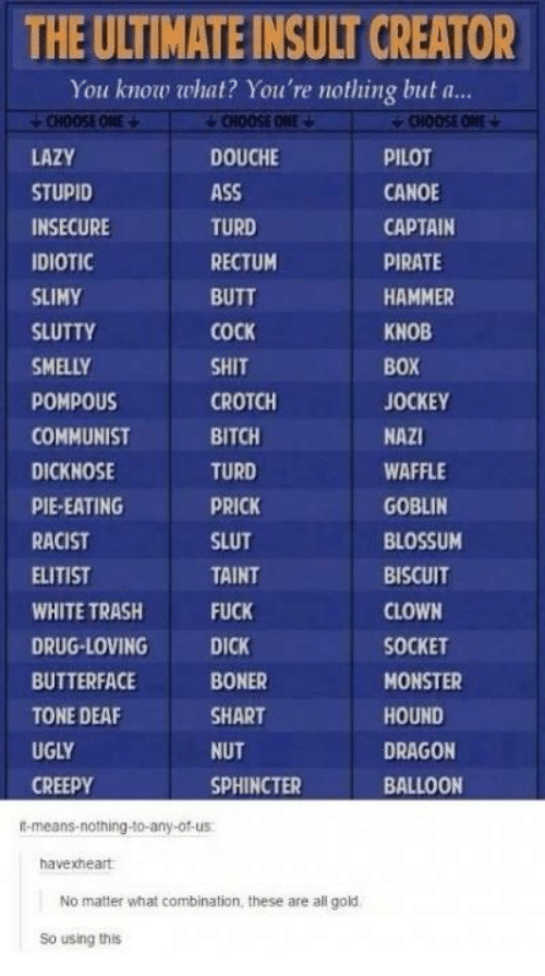 butterface: THE ULTIMATE INSULT CREATOR  You know what? You're nothing but a..  CHOOSE ONE  CHOOSE ONE  CHOOSE ONE  LAZY  DOUCHE  PILOT  ASS  STUPID  CANOE  TURD  INSECURE  CAPTAIN  IDIOTIC  RECTUM  PIRATE  SLIMY  BUTT  HAMMER  SLUTTY  COCK  KNOB  SMELLY  SHIT  BOX  POMPOUS  CROTCH  JOCKEY  BITCH  NAZI  COMMUNIST  TURD  DICKNOSE  WAFFLE  PIE-EATING  PRICK  GOBLIN  RACIST  SLUT  BLOSSUM  ELITIST  TAINT  BISCUIT  WHITE TRASH  FUCK  CLOWN  SOCKET  DRUG-LOVING  DICK  BUTTERFACE  BONER  MONSTER  TONE DEAF  SHART  HOUND  UGLY  DRAGON  NUT  CREEPY  SPHINCTER  BALLOON  t-means-nothing-to-any-of-us  havexheart  No matter what combination, these are all gold  So using this
