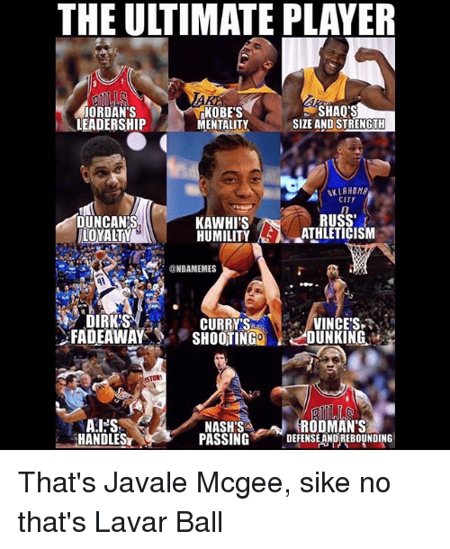 Jordans, Memes, and Leadership: THE ULTIMATE PLAYER  JORDAN'S  LEADERSHIP  KOBE'S  MENTALITY  SHAQ'S  SIZE AND STRENGTH  KLAHOM  CITY  RUSS'  DUNCANS  LOYA  KAWHI'S  HUMILITYATHLETICISM  @NBAMEMES  1  CURRY'S  FADEAWAYSHOOTIGO OUNKING  VINCE'S  STOR  NASH'S  PASSING, _DEFENSEANDREBOUNDING  RODMAN'S  HANDLES That's Javale Mcgee, sike no that's Lavar Ball