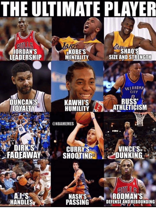 Jordans, Memes, and Leadership: THE ULTIMATE PLAYER  JORDAN'S  LEADERSHIP  KOBE'S  MENTALITY  SHAQ'S  SIZE AND STRENGTH  OKLAHOM  CITY  RUSS  DUNCANS  LOYALTY  KAWHI'S  HUMILITYATHLETICISM  @NBAMEMES  DIRK'S  CURRYS  FADEAWAYSHOOTING DUNKING.  VINCES  STORS  RODMAN'S  HANDLES  NASH'S  PASSINGDEFENSE AND REBOUNDING