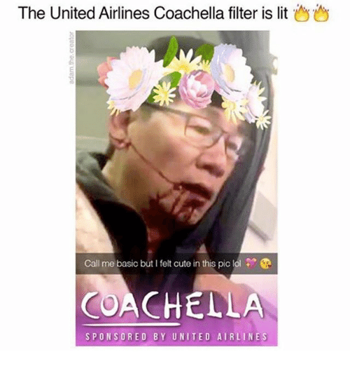 united airline: The United Airlines Coachella filter is lit  Call me basic but I felt cute in this pic lol  COACHELLA  SPONSORED BY UNITED AIRLINE S
