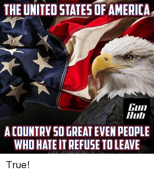 America, Memes, and True: THE UNITED STATES OF AMERICA  Gun  Hul  A COUNTRYSO GREAT EVEN PEOPLE  WHO HATE IT REFUSE TO LEAVE True!