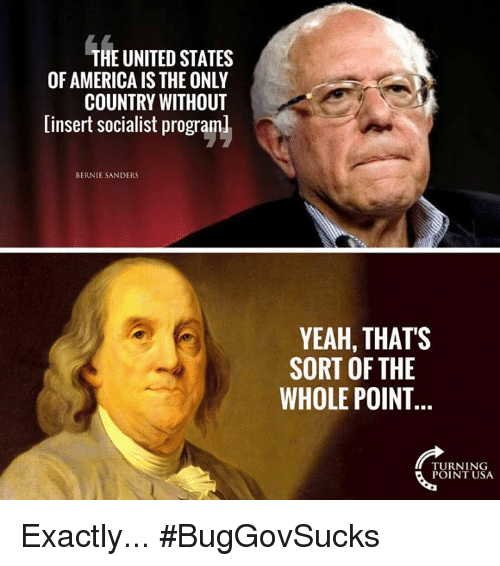 America, Bernie Sanders, and Memes: THE UNITED STATES  OF AMERICA IS THE ONLY  COUNTRY WITHOUT  linsert socialist programl  BERNIE SANDERS  YEAH, THATS  SORT OF THE  WHOLE POINT  TURNING  POINT USA Exactly... #BugGovSucks