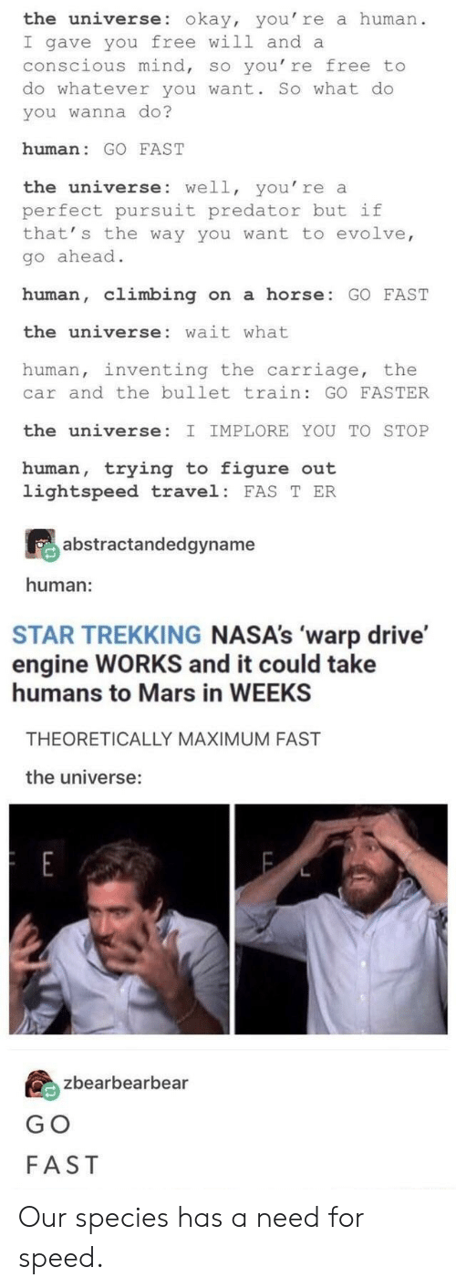 So You Re: the universe: okay, you' re a human  I gave you free will and a  conscious mind, so you' re free to  do whatever you want. So what do  you wanna do?  human: GO FAST  the universe: well, you' re a  perfect pursuit predator but if  that' s the way you want to evolve  go ahead  human, climbing n a horse: GO FAST  the universe: wait what  human, inventing the carriage, the  car and the bullet train: GO FASTER  the universe:  IMPLORE YOU TO STOP  human, trying t figure out  lightspeed travel: FAS T ER  abstractandedgyname  human:  STAR TREKKING NASA's 'warp drive'  engine WORKS and it could take  humans to Mars in WEEKS  THEORETICALLY MAXIMUM FAST  the universe:  zbearbearbear  G O  FAST Our species has a need for speed.