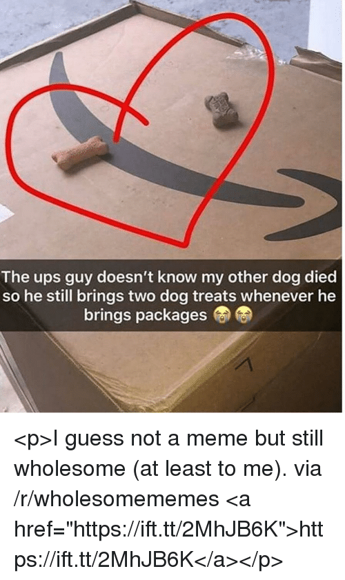 "Meme, Ups, and Guess: The ups guy doesn't know my other dog died  so he still brings two dog treats whenever he  brings packages <p>I guess not a meme but still wholesome (at least to me). via /r/wholesomememes <a href=""https://ift.tt/2MhJB6K"">https://ift.tt/2MhJB6K</a></p>"
