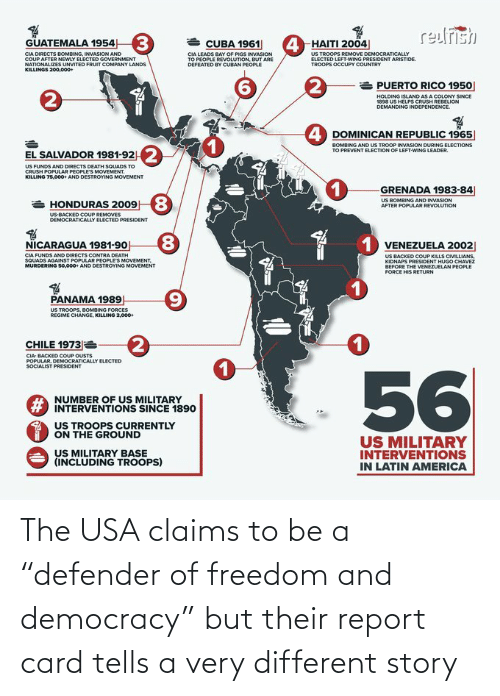 "report card: The USA claims to be a ""defender of freedom and democracy"" but their report card tells a very different story"