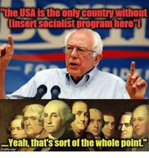 """Programing: the USA is the only country without  insert socialist program here'l  Yeah, that's sort of the whole point."""""""