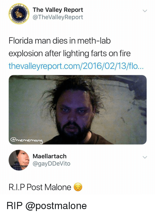 Flo: The Valley Report  @TheValleyReport  Florida man dies in meth-lab  explosion after lighting farts on fire  thevalleyreport.com/2016/02/13/flo  mememana  Maellartach  @gayDDeVito  Excuse tne scars and ane  R.I.P Post Malone RIP @postmalone