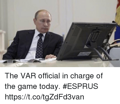 Soccer, The Game, and Game: The VAR official in charge of the game today. #ESPRUS https://t.co/tgZdFd3van