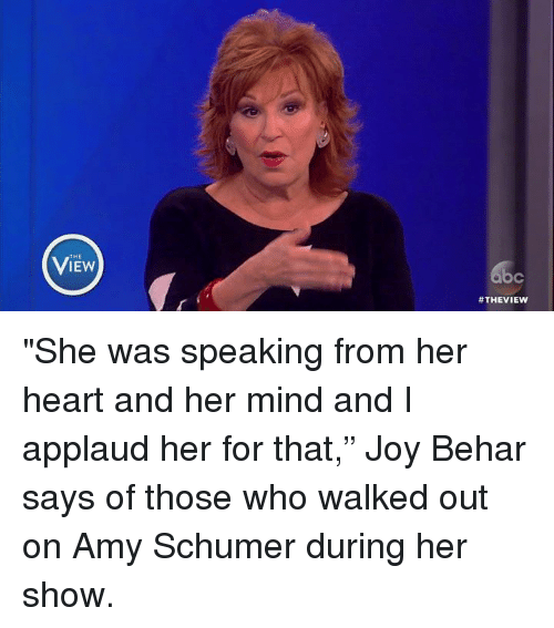 """Amy Schumer, Memes, and Heart: THE  ViEw  &c  #THEVIEW  o """"She was speaking from her heart and her mind and I applaud her for that,"""" Joy Behar says of those who walked out on Amy Schumer during her show."""