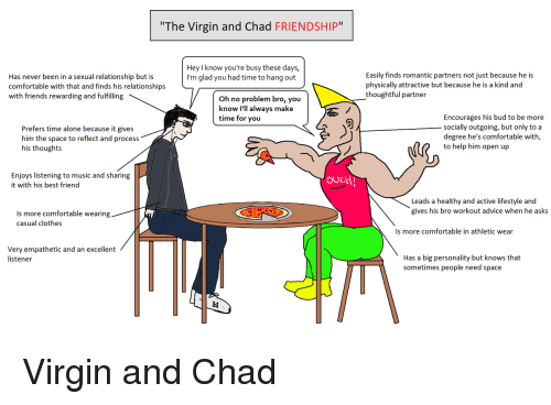 """listener: The Virgin and Chad FRIENDSHIP""""  Hey I know you're busy these days,  I'm glad you had time to hang out  Has never been in a sexual relationship but is  comfortable with that and finds his relationships  with friends rewarding and fulfilling  Easily finds romantic partners not just because he is  physically attractive but because he is a kind and  thoughtful partner  Oh no problem bro, you  know I'll always make  time for you  Prefers time alone because it gives  him the space to reflect and process  his thoughts  Encourages his bud to be more  socially outgoing, but only to a  degree he's comfortable with,  to help him open up  Enjoys listening to music and sharing  it with his best friend  ouLtH  Leads a healthy and active lifestyle and  gives his bro workout advice when he asks  Is more comfortable wearing  casual clothes  Is more comfortable in athletic wear  Very empathetic and an excellent  listener  Has a big personality but knows that  sometimes people need space <p>Virgin and Chad</p>"""