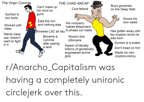 Anarcho-Capitalism: The Virgin Commie  THE CHAD ANCAP  Buys groceries  on the Deep Web  Can't make up  Cool fedora  his mind on  Symbol is  two tools  guns  Grows his  Eats the rich  Own weed  His company  makes teleporters  and nothing else  Worked with  Hitler  Has gotten away with  tax evasion since he  Browses LSC all day to phase out roads  Wants class  Веcame a  World's first  war, doesn't  want to fight  was born  zillionaire  commie  Symbol is a snake  after seeing  in it  Harem of literally  billions of genetically  engineered anime  girls  a tank  Don't tread on him  Made his own  cryptocurrency r/Anarcho_Capitalism was having a completely unironic circlejerk over this.