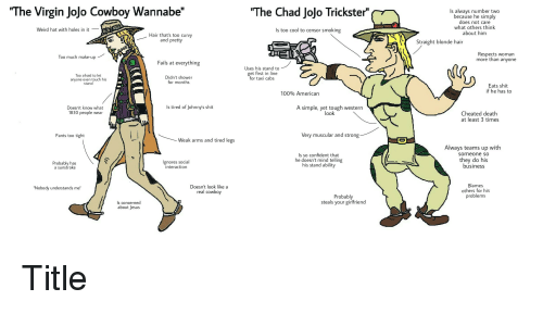 """Real Cowboy: """"The Virgin Jojo Cowboy Wannabe""""  """"The Chad Jojo Trickster""""  Is always number two  because he simply  does not care  what others think  about him  Weird hat with holes in it  Is too cool to censor smoking  Hair that's too curvy  and pretty  Straight blonde hair  Respects woman  more than anyone  Too much make-up  Fails at everything  Uses his stand to  get first in line  for taxi cabs  Too afraid to let  anyone even touch his  stand  Didn't shower  for months  Eats shit  if he has to  100% American  Is tired of Johnny's shit  Doesn't know what  1830 people wear  A simple, yet tough western  look  Cheated death  at least 3 times  Pants too tight  Very muscular and strong  Weak arms and tired legs  Always teams up with  someone so  Ignores social  interaction  Is so confident that  he doesn't mind telling  his stand ability  they do his  business  Probably has  a sunstroke  Doesn't look like a  real cowboy  Blames  others for his  problems  """"Nobody understands me""""  Probably  steals your girlfriend  Is concerned  about Jesus"""