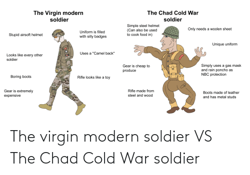 soldier: The virgin modern soldier VS The Chad Cold War soldier