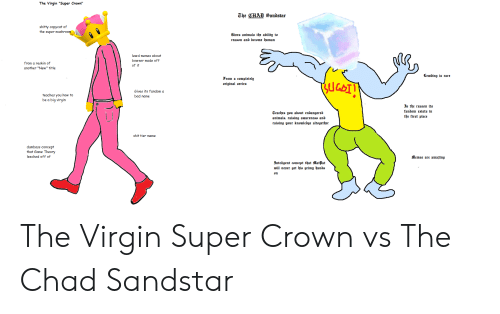 "Super Crown: The Virgin ""Super Crown""  The CHAD Sandstar  shitty copycat of  the super mushroom  Giues animals the ability to  reason and become human  lewd memes about  bowser made off  from a reskin of  of it  another ""New"" title  Lewding is rare  From a completely  original serieu  Gives its fandom a  teaches you how to  be a big virgin  bad name  J the reason its  fandom exists in  Teaches you about endangered  animals, raising awareness and  raising your knowledge altogether  the first place  shit tier meme  dumbass concept  that Game Theory  leeched off of  Memes are amazing  3nteligent concept that Matat  will never get his grimy hands  un The Virgin Super Crown vs The Chad Sandstar"