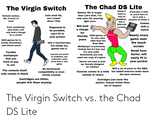 ds lite: The Virgin Switch vs. the Chad DS Lite