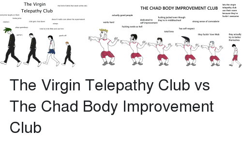 gameboys: The Virgin  Telepathy Club  lets the virgin  telepathy club  the kind of dorks that watch anime (lol)  THE CHAD BODY IMPROVEMENT CLUB  use their room  because they're  fuckin' awesome  everyone laughs at them  actually good people  fucking jacked even though  they're in middleschool  kinda jerks  doesn't really care about the supernatural  dedicated to  self improvement  slackers  club gets shut down  works hard  strong sense of comraderie  wimps  fucking swole as hell  plays gameboys  tried to trick Mob and use him  has self-respect  total bros  they actually  try to better  themselves  gamers  they fuckin' love Mob  goofs off
