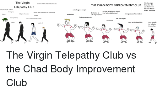 gameboys: The Virgin  Telepathy Club  lets the virgin  telepathy club  the kind of dorks that watch anime (lol)  THE CHAD BODY IMPROVEMENT CLUB  use their room  because they're  fuckin' awesome  everyone laughs at them  actually good people  fucking jacked even though  kinda jerks  doesn't really care about the supernatural  slackers  club gets shut down  works hard  strong sense of comraderie  self improvementey e in middleschool  wimps  plays gameboys  fucking swole as hell  tried to trick Mob and use him  has self-respect  total bros  they fuckin' love Mob  they actually  try to better  gamers  goofs off