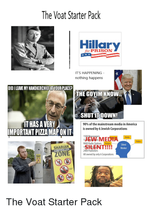 Goyim Know: The Voat Starter Pack  Hillar  for PRISON  IT'S HAPPENING  nothing happens  DID I LEAVE MY HANDKERCHIEFAT YOUR PLACE?  THE GOYIM KNOW  SHUTIT DOWN  IT HAS A VERY  IMPORTANT PIZZA MAP ON IT  90% of the mainstream media in America  is owned by 6 Jewish Corporations  EDT ecla  Politics  9000 Radio StationsReligion  SHARIAH  Silent  Worker  All owned by only 6 Corporations