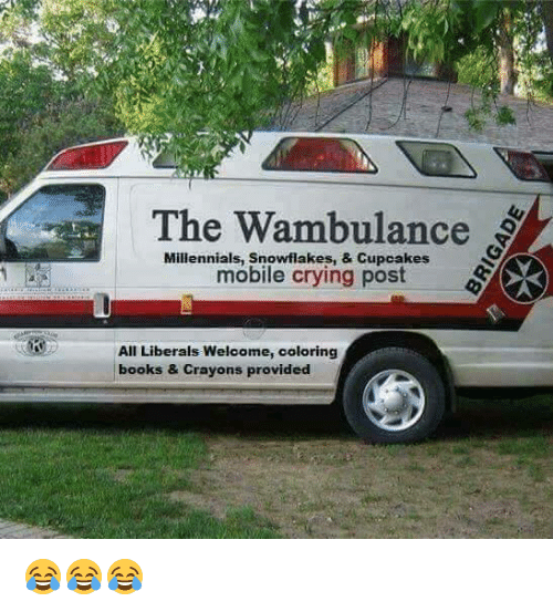 wambulance: The Wambulance  Millennials, mobile crying post  All Liberals Welcome, coloring  books & crayons provided 😂😂😂
