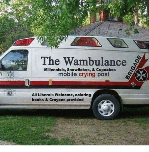 wambulance: The Wambulance  Millennials, Snowflakes, & Cupcakes  mobile crying post  All Liberals Welcome, coloring  books & Crayons provided