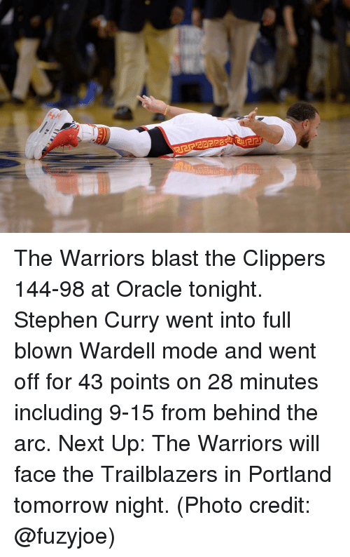 Basketball, Golden State Warriors, and Sports: The Warriors blast the Clippers 144-98 at Oracle tonight. Stephen Curry went into full blown Wardell mode and went off for 43 points on 28 minutes including 9-15 from behind the arc. Next Up: The Warriors will face the Trailblazers in Portland tomorrow night. (Photo credit: @fuzyjoe)