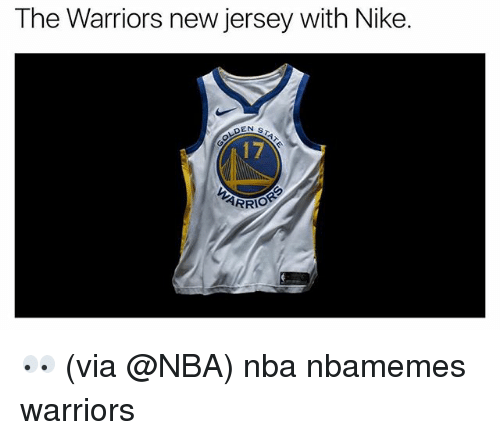 Basketball, Nba, and Nike: The Warriors new jersey with Nike  EN S  17  ARRIO 👀 (via @NBA) nba nbamemes warriors