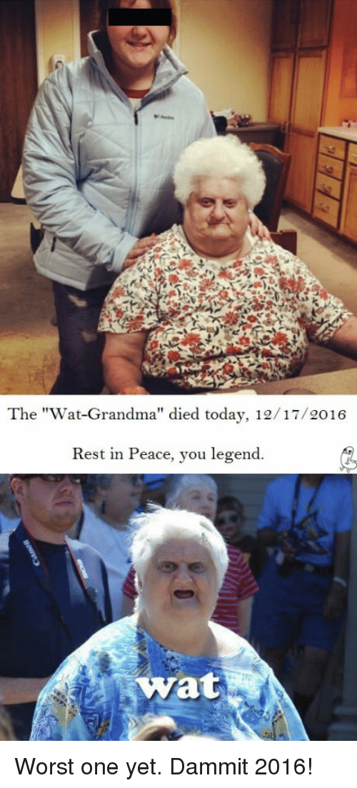 """Funny and Sad: The """"Wat-Grandma"""" died today, 12/17/2016  Rest in Peace, you legend.  Wat Worst one yet. Dammit 2016!"""