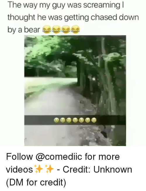 Memes, Videos, and Bear: The way my guy was screaming  thought he was getting chased down  by a bear Follow @comediic for more videos✨✨ - Credit: Unknown (DM for credit)
