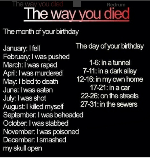 redrum: The way you died  Redrum  The way you died  The month of your birthday  The day of your birthday  January. I fell  February. I was pushed  1-6 in a tunnel  March. I was raped  April I was murdered  7-11: in a dark alley  12-16: in my own home  May: I bled to death  17-21 ina Car  June: Iwas eaten  22-26 on the streets  July: was shot  August killed myself  21-31: in e sewers  September. I wasbeheaded  October: Iwas stabbed  November I poisoned  was December: l smashed  my skull open