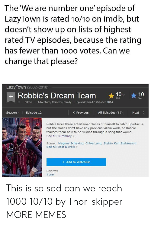 We Are Number One : The 'We are number one' episode of  LazyTown is rated 10/1o on imdb, but  doesn't show up on lists of highest  rated TV episodes, because the rating  has fewer than 10oo votes. Can we  change that please?  Lazy Town (2002-2016)  + Robbie's Dream Team 10  You  U  30min Adventure, Comedy, Family Episode aired 3 October 2014  Season 4  Episode 12  Previous All Episodes (82)  Next>  Robbie hires three entertainer clones of himself to catch Sportacus,  but the clones don't have any previous villain work, so Robbie  teaches them how to be villains through a song that would...  See full summary»  Stars: Magnús Scheving, Chloe Lang, Stefán Karl Stefánsson  See full cast & crew »  + Add to Watchlist  Reviews  3 user This is so sad can we reach 1000 10/10 by Thor_skipper MORE MEMES