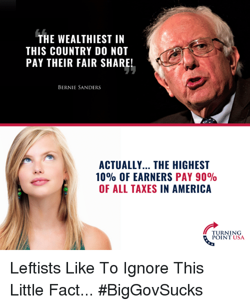 Ignore This: THE WEALTHIEST IN  THIS COUNTRY D0 NOT  PAY THEIR FAIR SHARE!  BERNIE SANDERS  ACTUALLY... THE HIGHEST  10% OF EARNERS PAY 90%  OF ALL TAXES IN AMERICA  TURNING  POINT USA Leftists Like To Ignore This Little Fact... #BigGovSucks