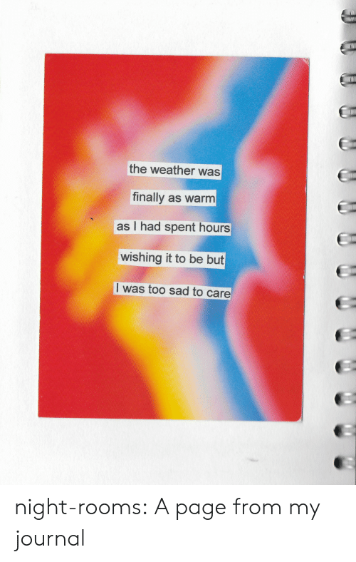 The Weather: the weather was  finally as warm  as I had spent hours  wishing it to be but  I was too sad to care night-rooms:  A page from my journal