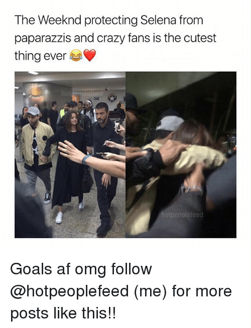 Crazyness: The Weeknd protecting Selena from  paparazzis and crazy fans is the cutest  thing ever Goals af omg follow @hotpeoplefeed (me) for more posts like this!!